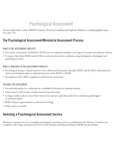 standard psychological assessment