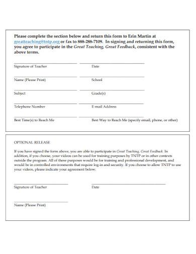 standard teacher agreement form