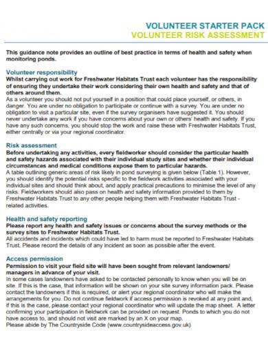 standard volunteer risk assessment