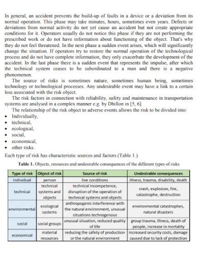stock maintenance risk assessment
