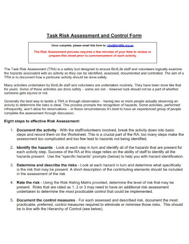 task risk assessment and control form