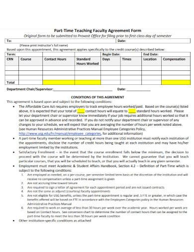 teacher faculty agreement form