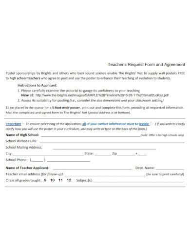 teacher request agreement form