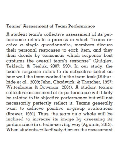 team performance assessment in pdf