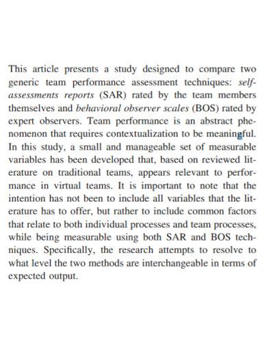 team performance self assessment