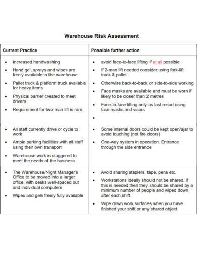 warehouse risk assessment template