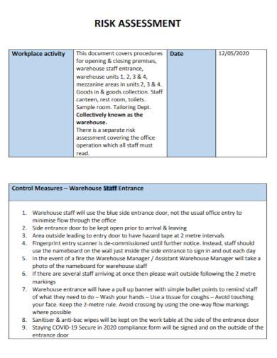 warehouse staff risk assessment