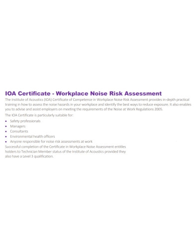 workplace noise risk assessment