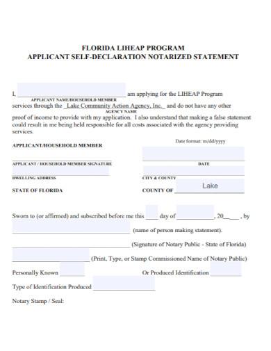 applicant self declaration statement
