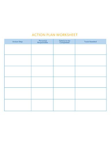 basic action plan worksheet