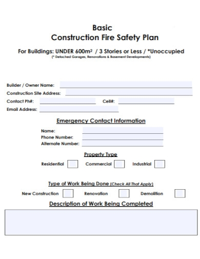 basic construction fire safety plan