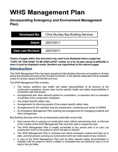 basic construction safety management plan