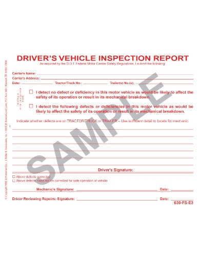 basic driver vehicle inspection report
