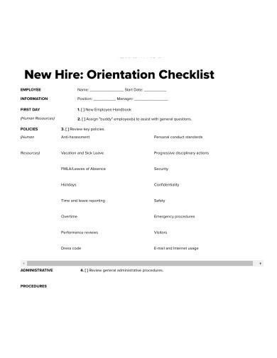 basic new hire orientation checklist