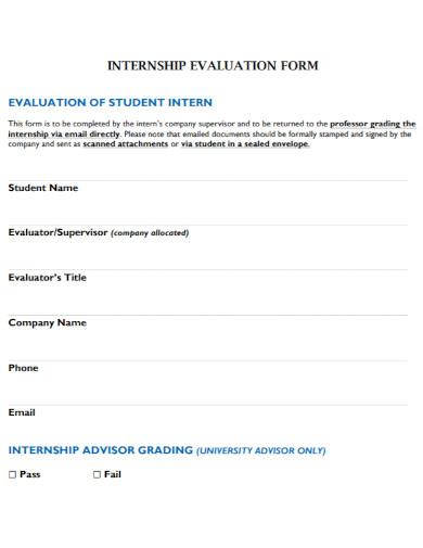 company internship evaluation form