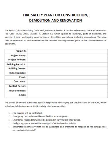 construction renovation fire safety plan