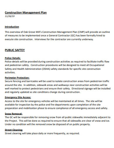 construction safety management plan example
