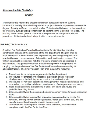 construction site fire safety plan