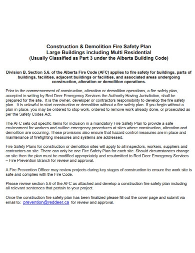 construction and demolition fire safety plan