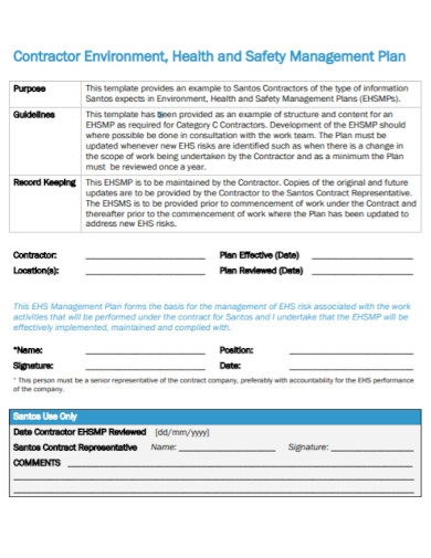 contractor health and safety management plan