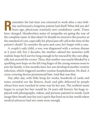 doctors condolence note