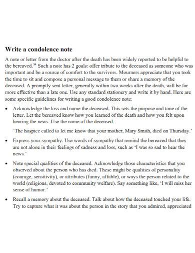 draft condolence note