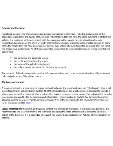 draft motor vehicle lease agreement