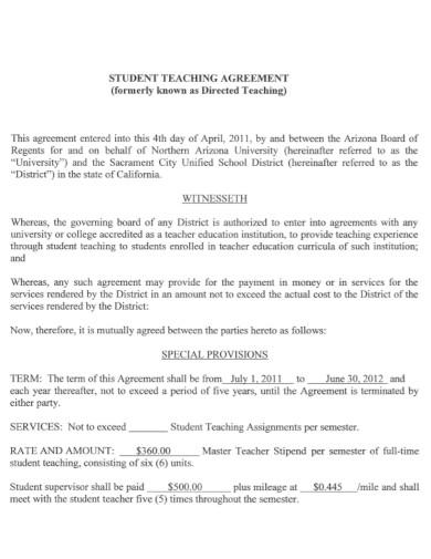 draft student teaching agreement