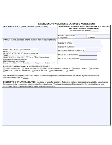 emergency facilities land use agreement