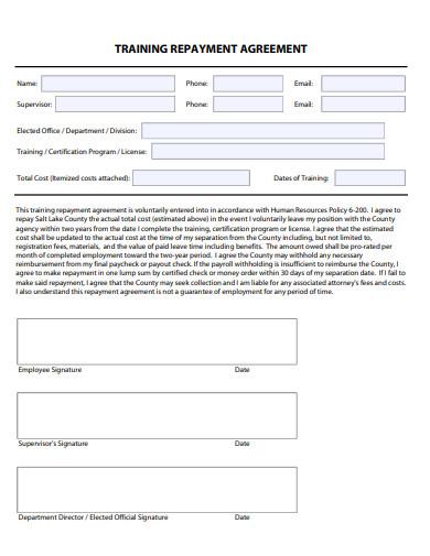 employee training repayment agreement
