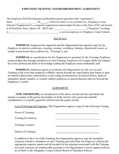 employee training and reimbursement agreement