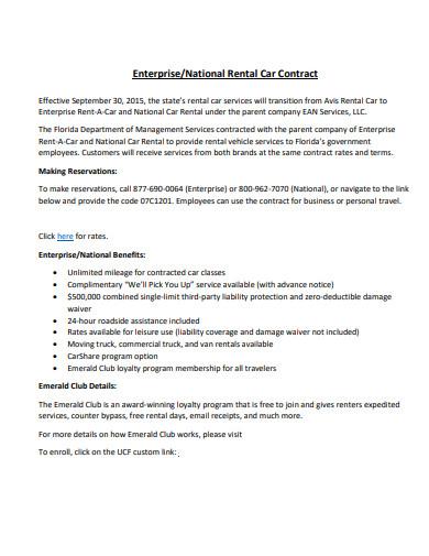 enterprise car rental contract