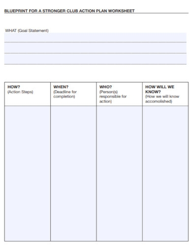 formal action plan worksheet