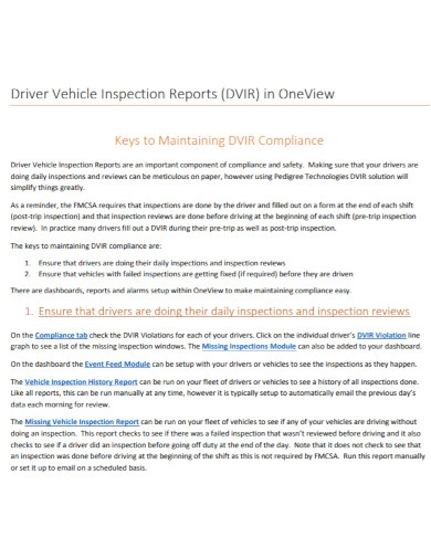 formal driver vehicle inspection report
