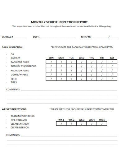 formal monthly vehicle inspection report