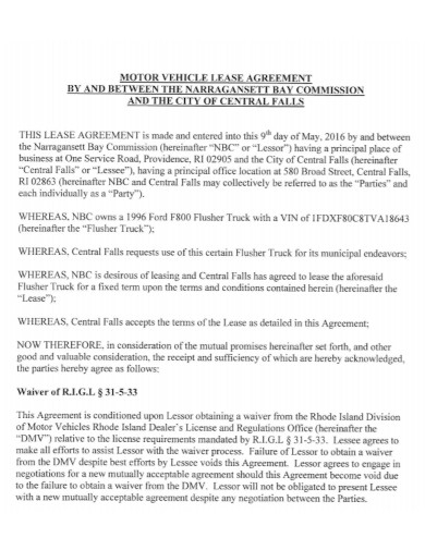 formal motor vehicle lease agreement