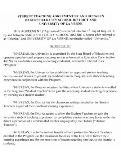 formal student teaching agreement