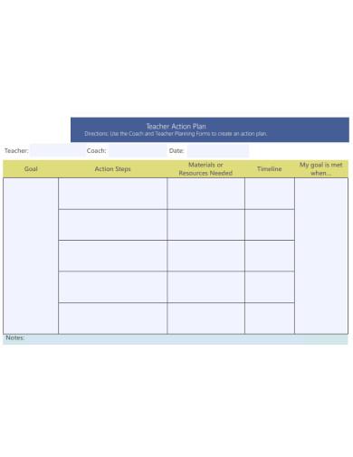formal teacher action plan