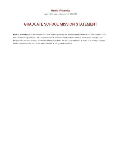 free graduate school mission statement
