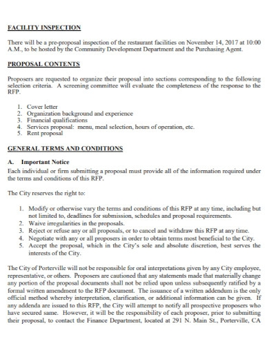 general business lease proposal
