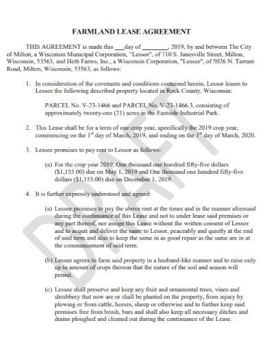 general farm land lease agreement