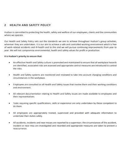 general health and safety management plan