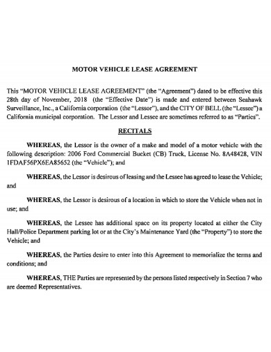 general motor vehicle lease agreement