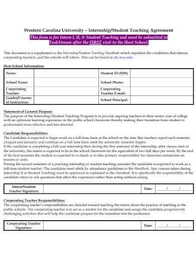 general student teaching agreement