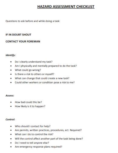 hazard assessment checklist in pdf