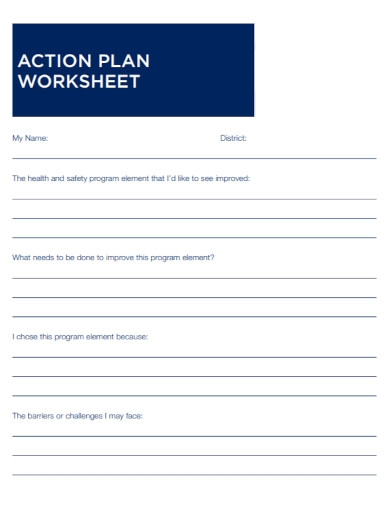 health action plan worksheet