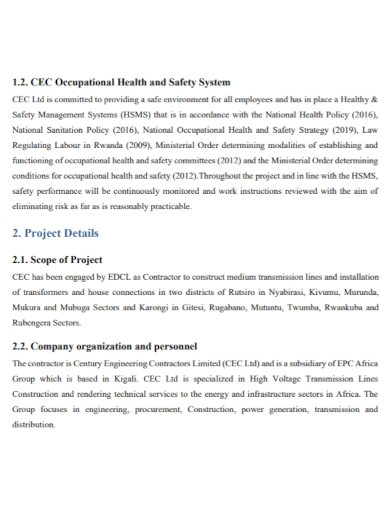 health and safety management plan in pdf