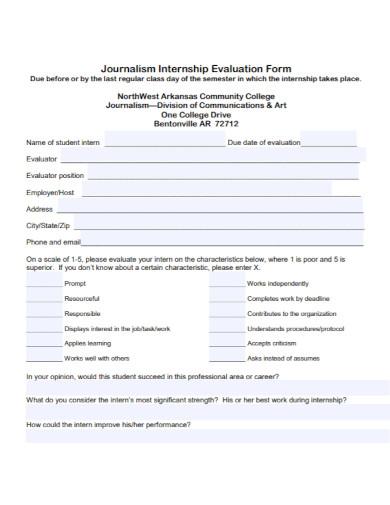journalism internship evaluation