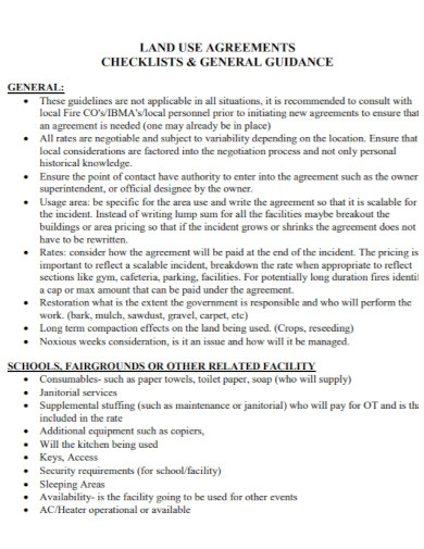 land use agreement checklist