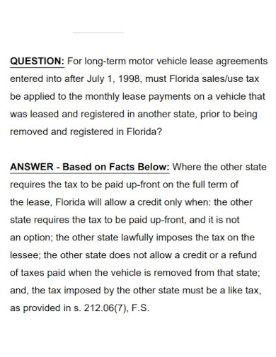 long term motor vehicle lease agreement